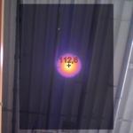 Hőkamerás felvétel a mennyezeten lévő világítótestről